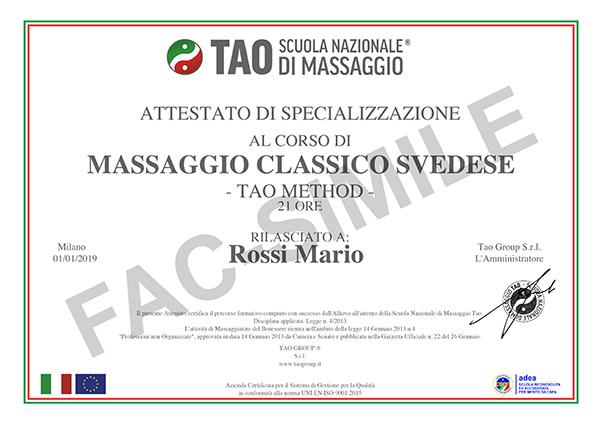 attestato demo corso di massaggio base classico